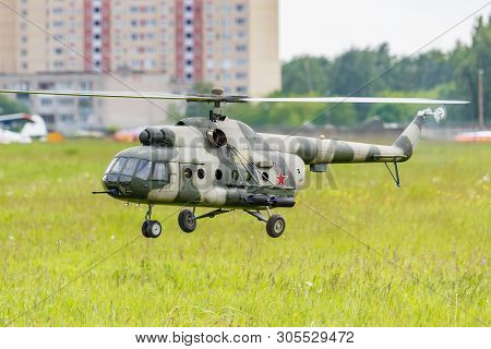 Balashikha, Moscow Region, Russia - May 25, 2019: Flying Big Scale Rc Model Of Russian Helicopter Mi