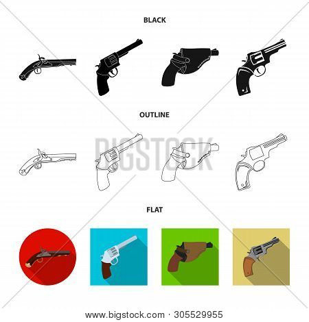Vector design of revolver and pistol symbol. Collection of revolver and trigger vector icon for stock. poster