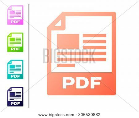 Coral Pdf File Document Icon. Download Pdf Button Icon Isolated On White Background. Pdf File Symbol