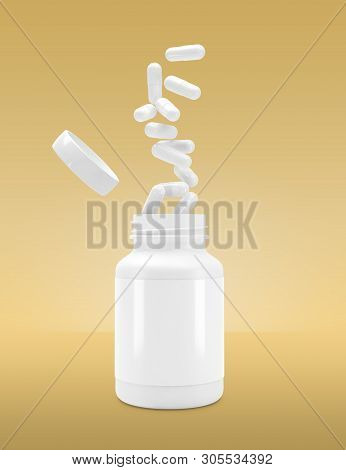 3d White Can With Vitamins. Bottle With White Pills. 3d Render. 3d Image. 3d Illustration, 3d Model