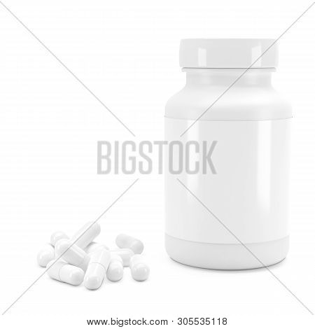 3d White Can With Vitamins. Bottle With White Pills. 3d Model, 3d Render, 3d Model, 3d Illustration