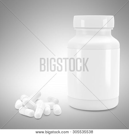 3d White Can With Vitamins. Bottle With White Pills. 3d Render. 3d Image. 3d Model, 3d Illustration