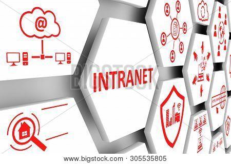 Intranet Concept Cell Background 3d Render Illustration