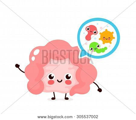 Microscopic Good Bacterias,microflora,viruses In Intestine. Vector Flat Illustration Icon Cartoon Ch