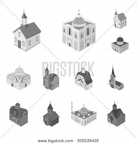 Vector Design Of Landmark And Clergy Icon. Collection Of Landmark And Religion Stock Symbol For Web.