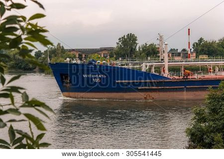 Floating Barge On The River. Industry Of Navigation. Navigation. Shipbuilding.