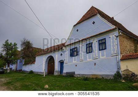 Viscri Village In Transylvania, Romania. Old Rural Saxon Architecture Heritage,  Streets Of Medieval