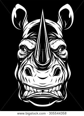 Vector Illustration, The Head Of A Ferocious Rhino On A Grins Black Background