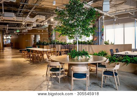 Bangkok, Thailand - May 2019 : Area Of True Digital Park Co-working Space With Luxury Comfortable De