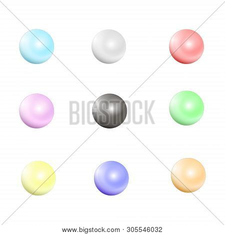 Multicolored Pearls. Vector Jewellery Nacre Beads Isolated On White Background. Set Of Colored Pearl