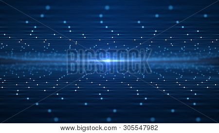 Futuristic Abstract Background Concept. Network Conveying Connectivity, Complexity And Data Flood Of