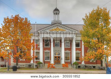 Stowe, Vermont/united States - October 15, 2018: View Of Town Hall In , [october 15, 2018] In [stowe