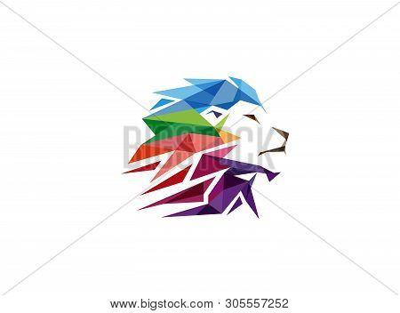 Colorful Creative Geometric Lion Head Logo Symbol Vector Design Illustration