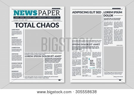 Newspaper Template. Column Articles Newsprint Background. Pressed Paper Newspaper Printed Sheets Wit