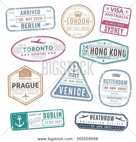 Travel Stamp. Vintage Passport Visa International Arrived Stamps With Grunge Texture. Isolated Stamp