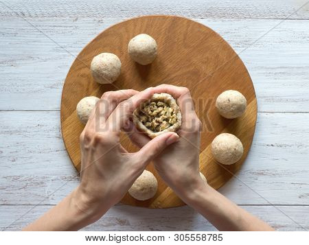 Cooking Of Arabic Meat Appetizer Kibbeh. Traditional Arabic Kibbeh With Lamb And Pine Nuts.