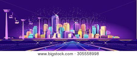 The Futuristic Night Resort City Is Illuminated By Neon Lights And Light Rays, Traffic, Roads, Bridg
