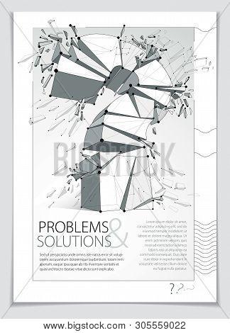 Broken Question Mark Exploding Brochure Or Flyer Design, Query Breaking To Pieces, Vector 3d Realist