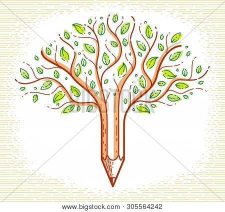 Beautiful Tree With Pencil Combined Into A Symbol, Creativity And Ideas Concept Vector Linear Style