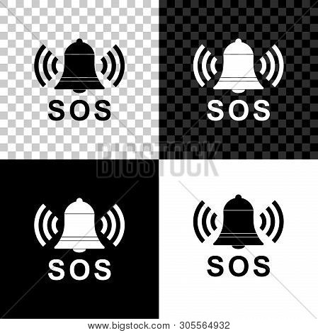 Alarm Bell And Sos Lettering Icon Isolated On Black, White And Transparent Background. Warning Bell,