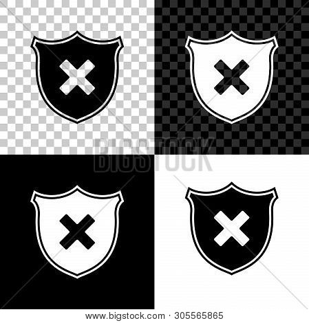Shield And Cross X Mark Icon Isolated On Black, White And Transparent Background. Denied Disapproved