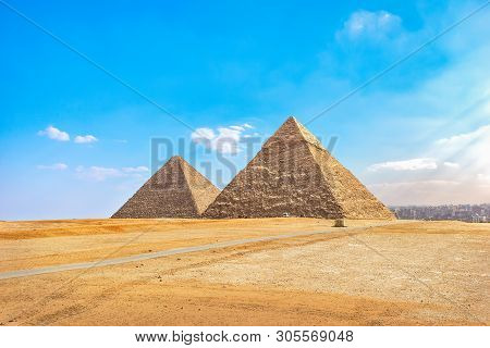 Khafre And Cheops Pyramids In Desert Of Giza At Summer Day, Cairo
