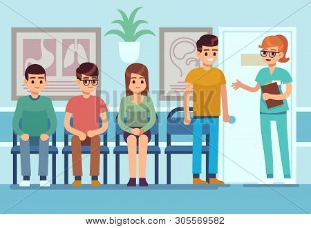 Patients In Doctors Waiting Room. People Wait Hall Clinic Corridor Hospital Ambulance Professional S