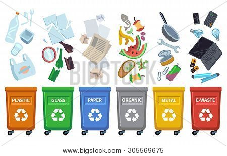 Recycle Waste Bins. Different Trash Types Color Containers Sorting Wastes Organic Trash Paper Can Gl
