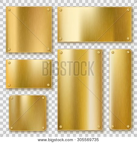 Golden Plates. Gold Metallic Yellow Plate, Shiny Bronze Banner. Polished Textured Blank Metal Label