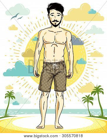 Handsome Brunet Man With Beard And Whiskers Poses On Tropical Beach In Shorts. Vector Character. Sum