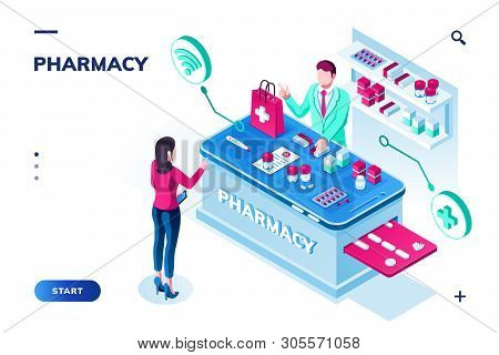 Woman Ordering Pills At Drugstore. Isometric Pharmacy With Doctor Or Pharmacist Selling Tablet Via I