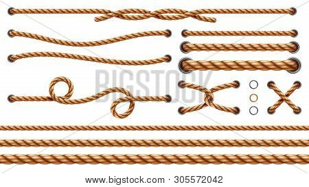 Set Of Isolated Straight Ropes And Tied Cross Strings, Realistic Navy Thread Through Metallic Holes.