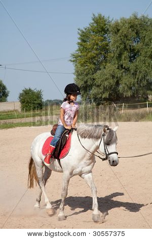 Little Girl Taking Horseback Riding Lessons