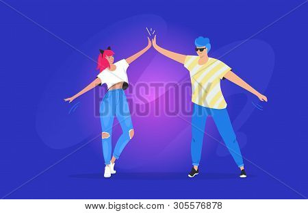 Greeting With A High Five Between Two Teenagers. Gradient Vector Illustration Of Two Young Friends S