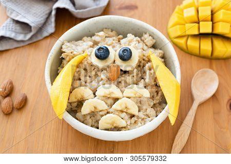 Kids Breakfast Oatmeal Porridge Shaped As Cute Owl. Food Art, Food Styling Idea