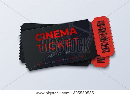 Movie Ticket Template. Realistic Cinema Theater Admission Pass Mockup, 3d Festival And Performance C