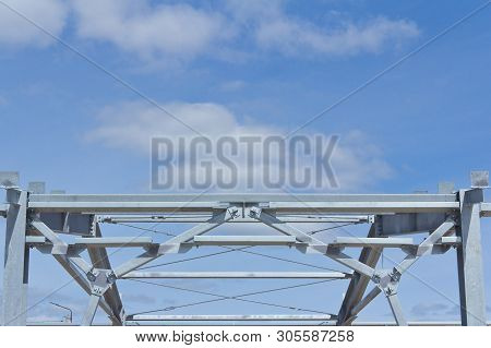 Galvanized Metal Frame For The Construction Of A New Building. Lightweight Building Structures.