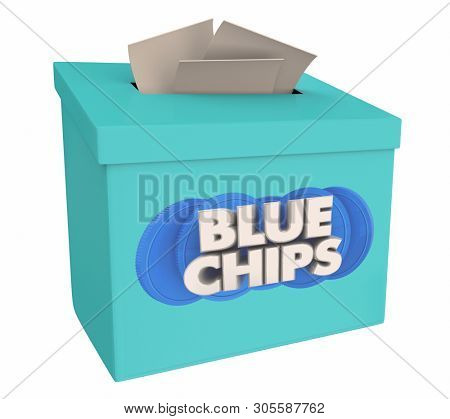 Blue Chips Top Goals Priorities Suggestion Idea Box 3d Illustration