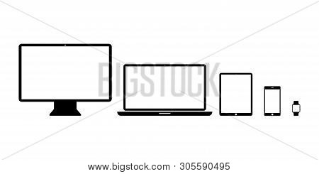Set Devices Icons Isolated Technology Products. Desktop Tablet Phone Icons. Mock Up Of Responsive De