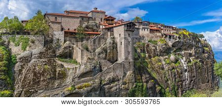 Panorama Of The Stunningly Located On Top Of A Rock Holy Monastery Of Great Meteoron In Meteora, Gre