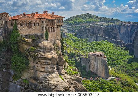 Red Tiled Rooftops Of The Stunningly Located Monastery Of Varlaam, Meteora, Greece