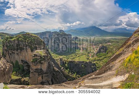 Amazing Panoramic Rocky Landscape At Meteora, Trikala Region, Greece