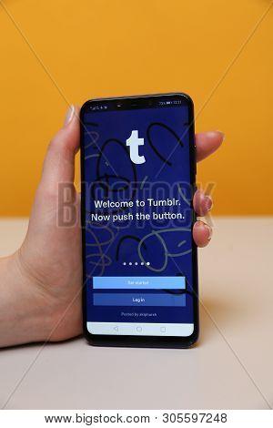 Tula, Russia - May 12 , 2019: Tumblr On Phone Display.