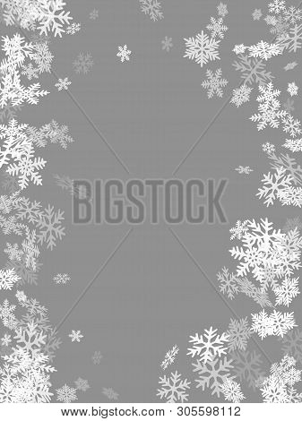 Winter Snowflakes Border Simple Vector Background.  Macro Snowflakes Flying Border Design, Holiday B