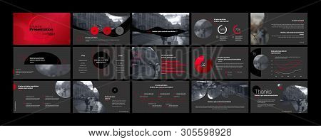 Presentation Template, Red And Black Infographic Elements. Vector Slide Template For Business Projec