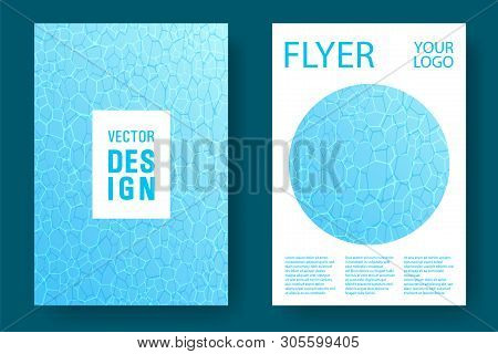 World Oceans Day Brochure Cover Templates Vector Set. Earth Day Flyers With Clean Ocean Water Causti
