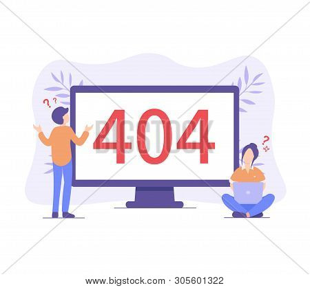 Flat Concept 404 Error Page For Web Page, Banner, Presentation, Social Media, Documents. Website Mai