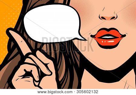 Beautiful Girl Or Young Woman Says. Pop Art Retro Comic Style. Cartoon Vector Illustration
