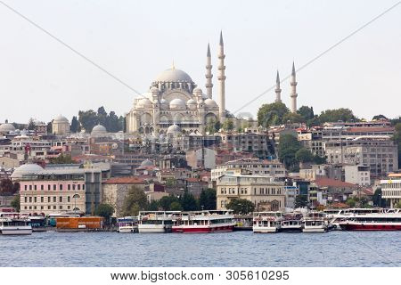 The Suleiman Mosque Overlooking The Bosphorous In Istanbul, Turkey