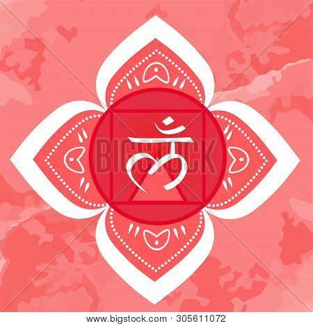 Root Chakra On Ornamental Background. Vector Illustration With Symbol Muladhara.
